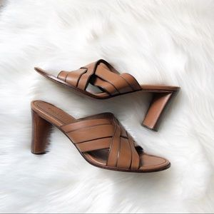 Cole Haan Country Tan Leather Cross Over Sandals